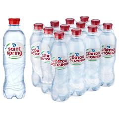 Вода питьевая Святой Источник газированная 0.5 л (12 штук в упаковке)