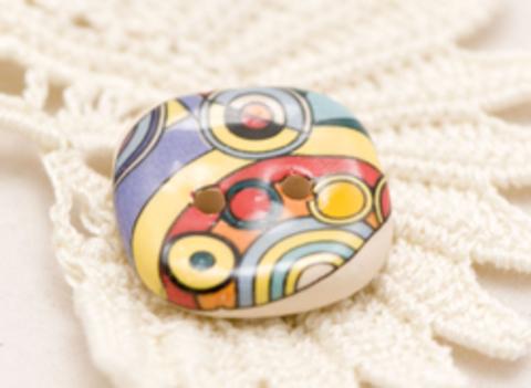 Пуговица керамическая с абстрактными узорами, цвета жёлтый, сиреневый, красный, морской волны, средняя, размер 19 мм