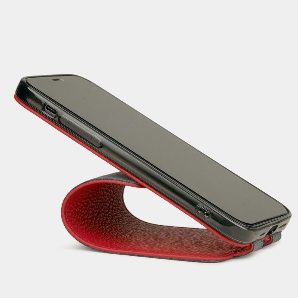 Чехол для iPhone 12 Mini из натуральной кожи теленка, красного цвета