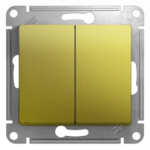Выключатель двухклавишный, 10АХ. Цвет Фисташковый. Schneider Electric Glossa. GSL001051