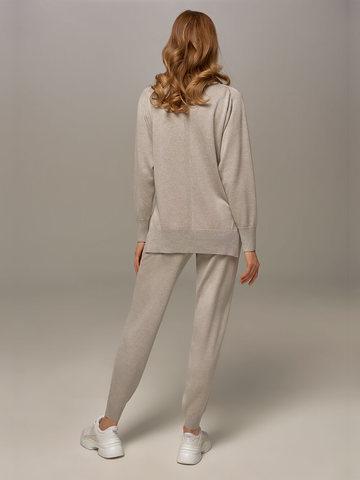 Женский джемпер цвета серый меланж из шелка и кашемира - фото 7