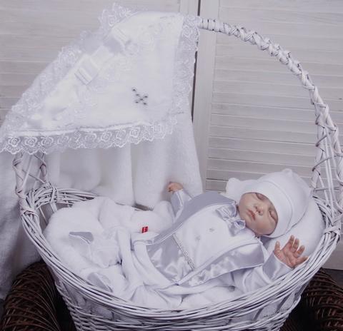 Комплект для крещения: крыжма Бантик + Фрак серый
