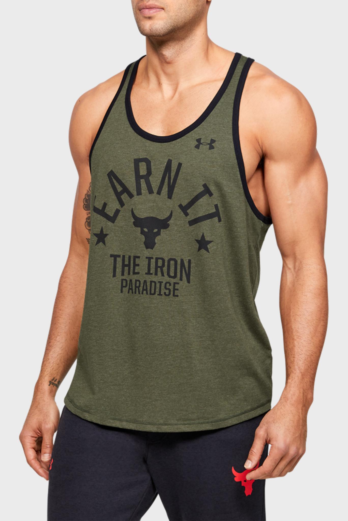Мужская зеленая спортивная футболка UA Pjt Rock Iron Paradise Tk Under Armour
