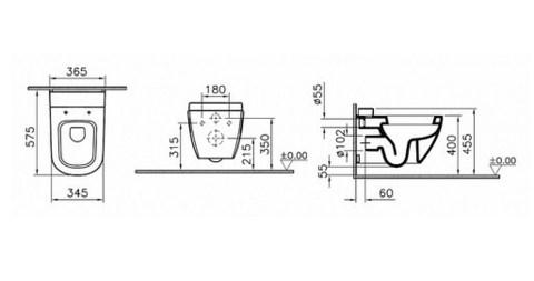 Унитаз подвесной безободковый VitrA D-Light  с емкостью для чистящей жидкости