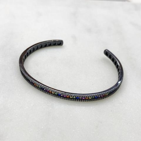 Браслет-обруч с цветными цирконами (черный)