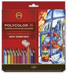 Набор художественных цветных карандашей POLYCOLOR 36 цветов, 2 штуки чернографитных карандаша 1500 и точилка в картонной коробке