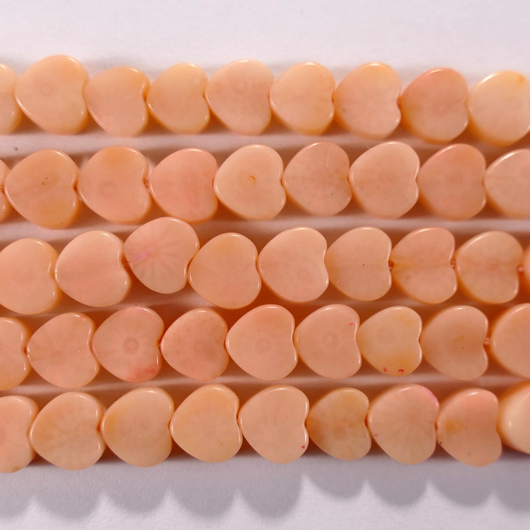 Нить бусин из коралла розового, фигурные, 5x5 мм (сердце, гладкая)