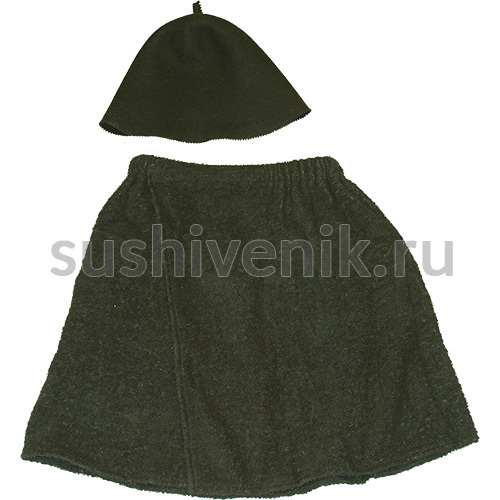 Комплект мужской килт + колпак (черный)