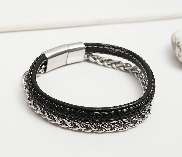 BM421 Оригинальный браслет из кожи и стальной цепочки (20,5 см)
