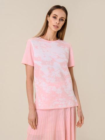 Женская футболка розового цвета из вискозы - фото 1