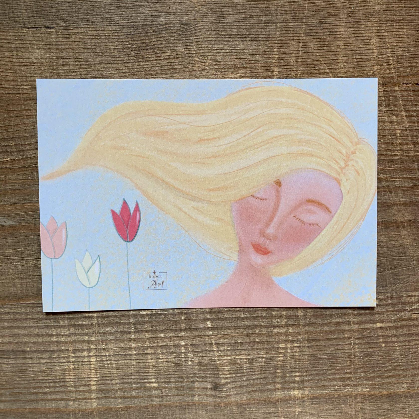 Фотография Открытка авторская почтовая «Девушка с цветами» / 10*15 см купить в магазине Афлора