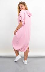 Алегра. Літнє спортивне плаття з капюшоном великого розміру. Пудра.