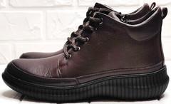 Демисезонные женские ботинки на спортивной подошве Evromoda 535-2010 S.A. Dark Brown.