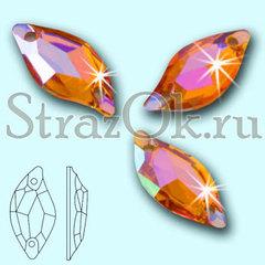 Стразы пришивные акриловые Leaf Orange AB, Листок Оранж АБ оранжевый с радужным покрытием на StrazOK.ru