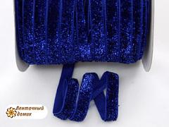 Лента бархатная люрексовая сапфир ширина 1 см