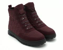 Ботинки зима бордового цвета из текстиля