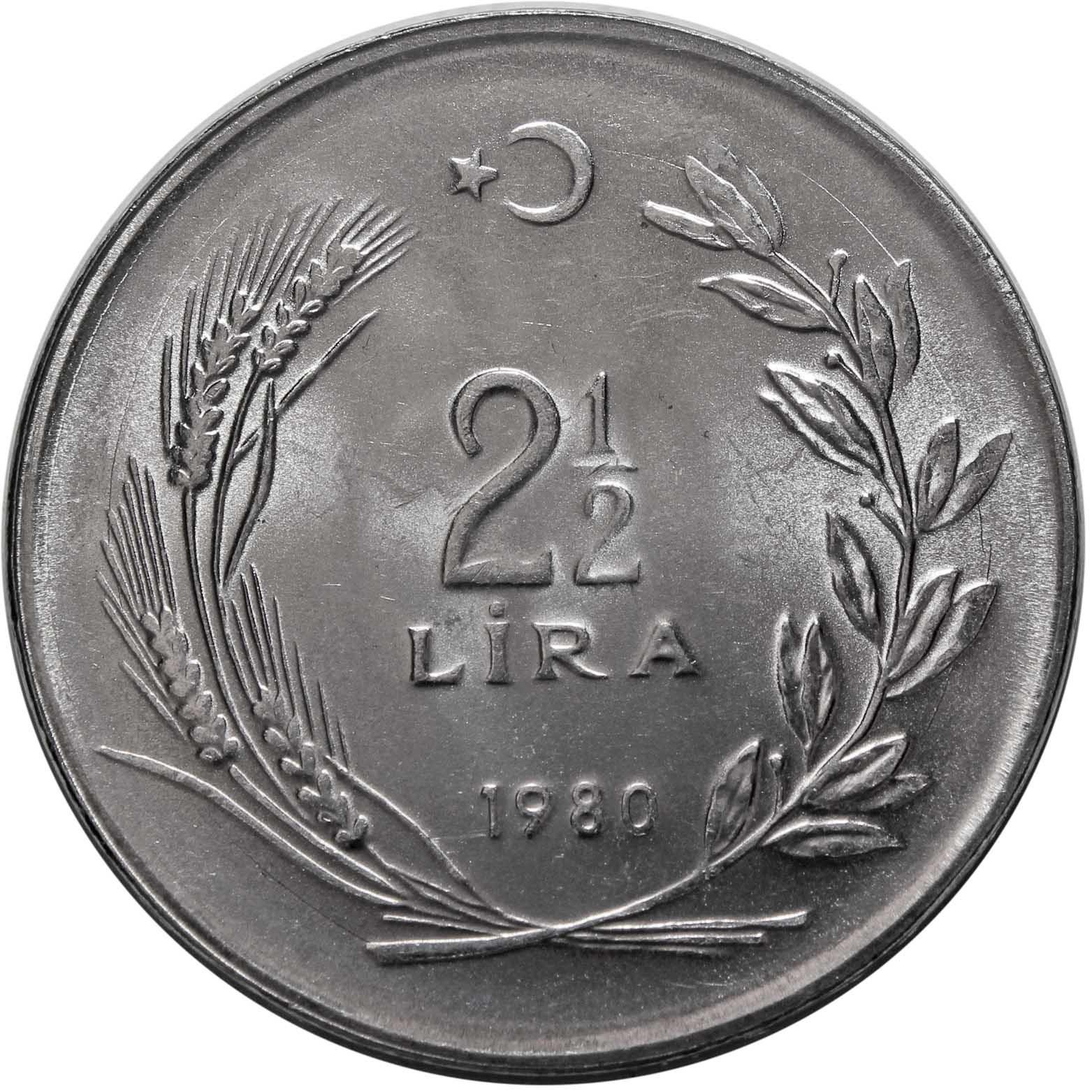 2,5 лиры. Турция. 1980 год. UNC