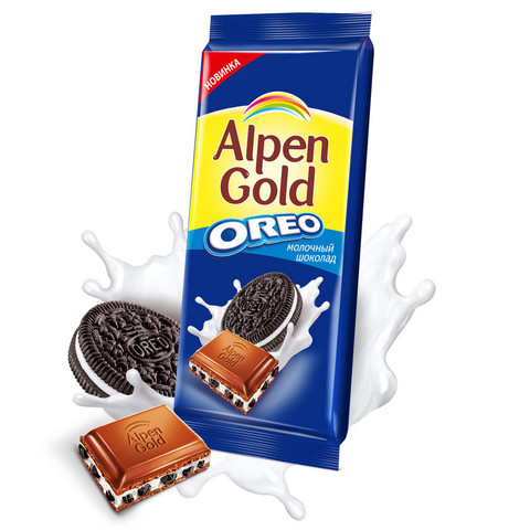 Шоколад Alpen Gold молочный с печеньем Oreo 95 г