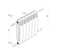 Биметаллический радиатор с правым нижним подключением Royal Thermo Biliner 350 V Silver Satin (серебристый)- 8 секций