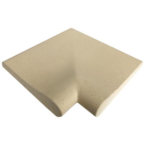 Прямой угловой копинговый камень Carobbio Rustic с микроперфорированной поверхностью, 320x320 мм (песочный) / 24351