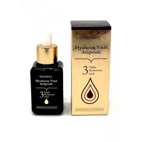 Сыворотка с гиалуроновой кислотой DEOPROCE HYALURON VITAL AMPOULE 3 TRIPLE HYALURONIC ACID (50 ml)