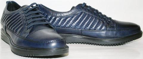 Синие туфли мужские из натуральной кожи. Модные мужские туфли спортивного стиля Luciano Bellini Blue