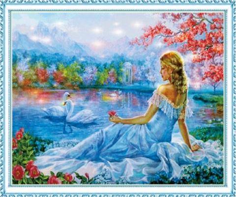 Алмазная Мозаика 50x65 Девушка смотрит на лебедей