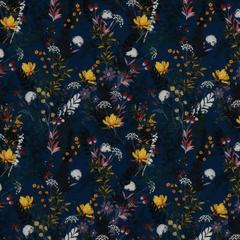 Тёмно-синий шёлковый крепдешин с полевыми цветами