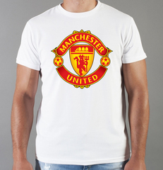 Футболка с принтом FC Manchester United (ФК Манчестер Юнайтед) белая 009