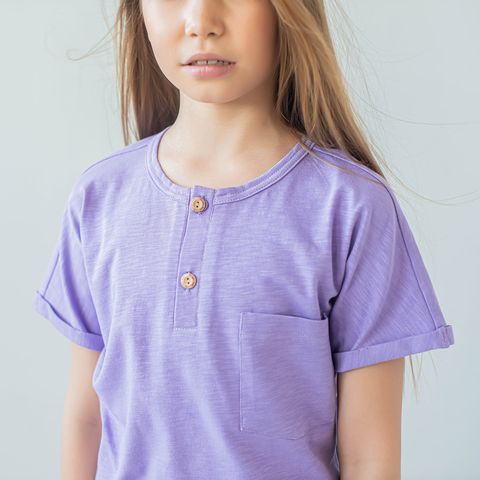 Polo T-shirt for teens - Lilac