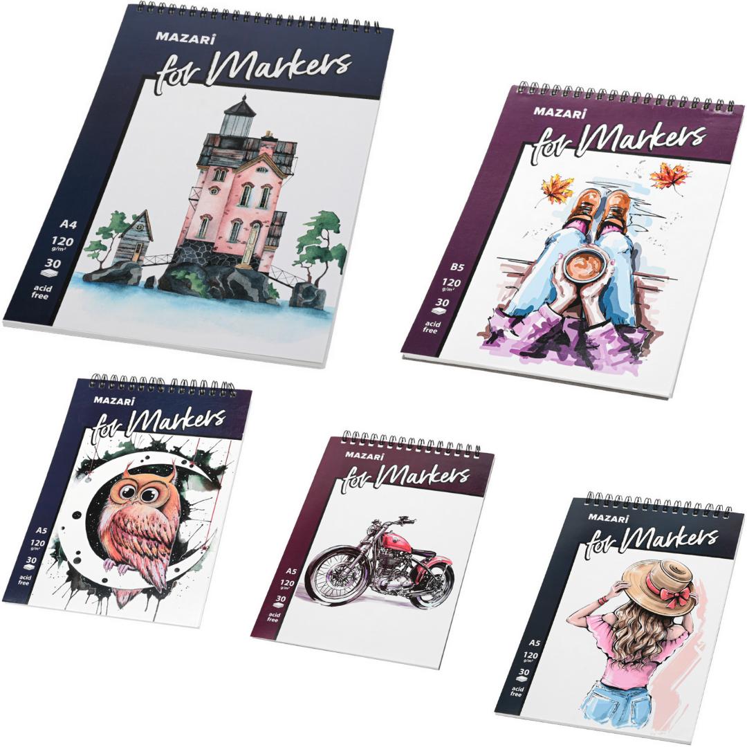 Набор скетчбуков для рисования спиртовыми маркерами Mazari 5 шт 120г/м2 (А4, В5, А5)