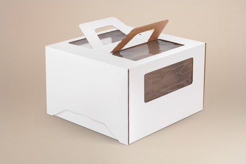 Коробка для торта 30*30*19 с окном и ручками, белая
