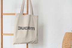 Сумка-шоппер с принтом Ducati (Дукати) бежевая 008