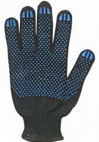 Перчатки 5-ти ниточные с ПВХ, черные