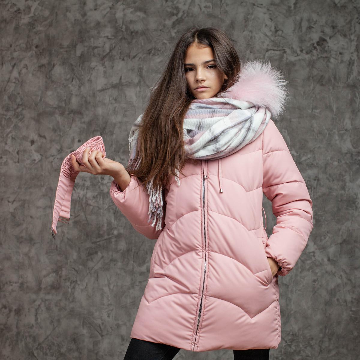 Зимове підліткове пальто для дівчаток рожевого кольору