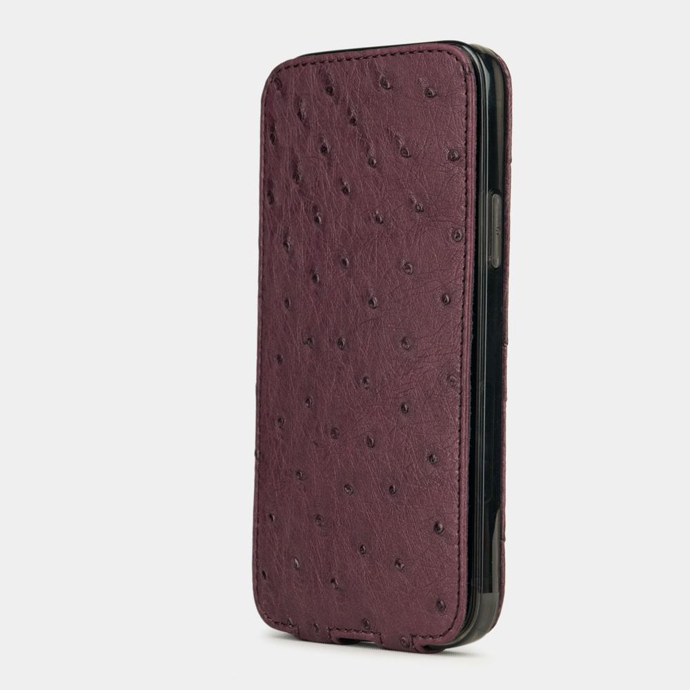 Special order: Чехол для iPhone 12/12Pro из натуральной кожи страуса, цвета баклажан