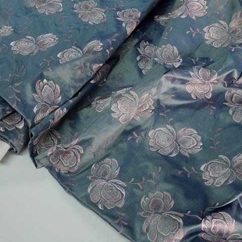 Шелк с вышивкой Soie Sauvage BLEU 3522