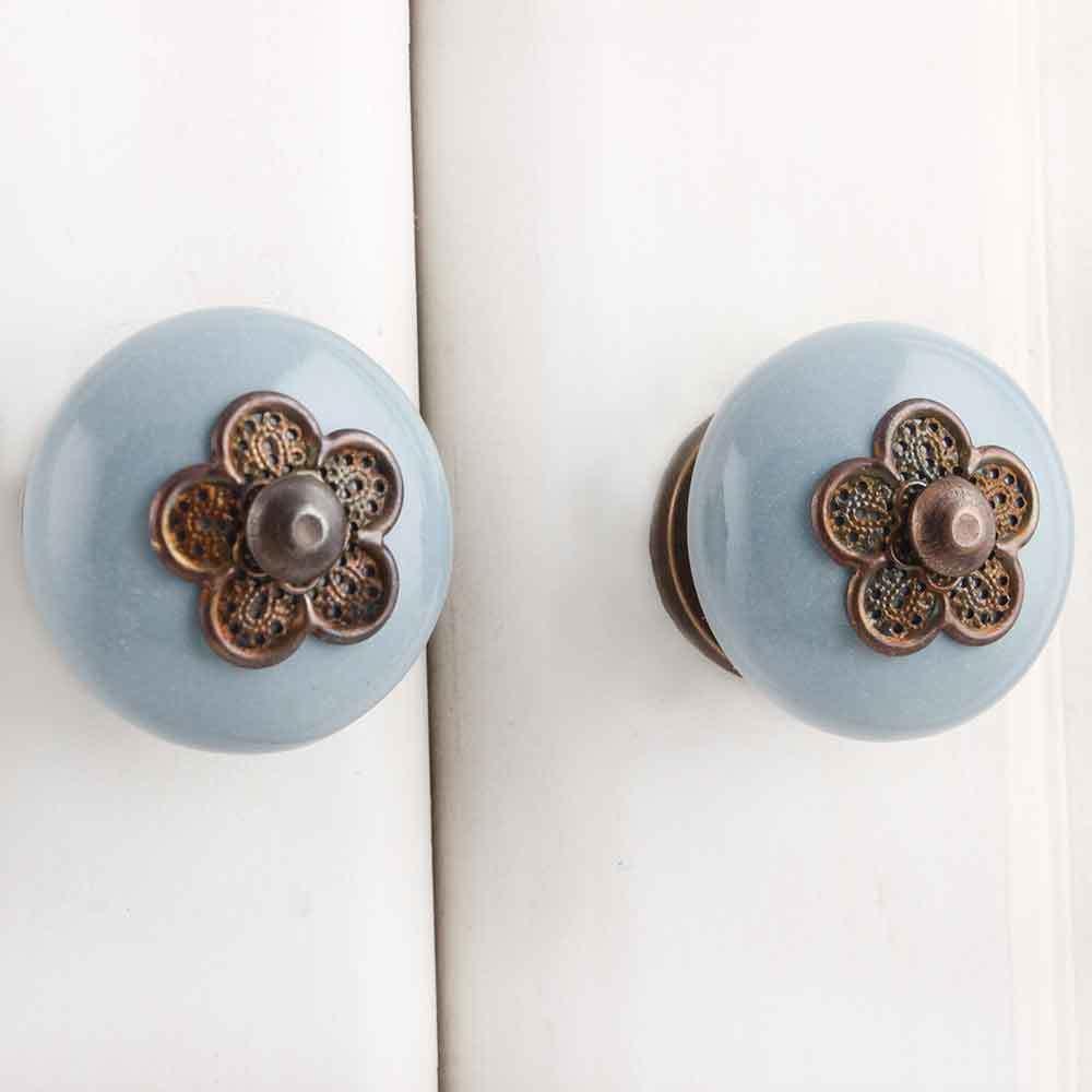 Ручка мебельная керамическая  - серая с медным цветком, арт. 00001205