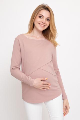 Лонгслив для беременных и кормящих 11917 пыльный беж