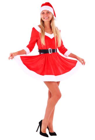 Костюм карнавальный взрослый Мисс Санта