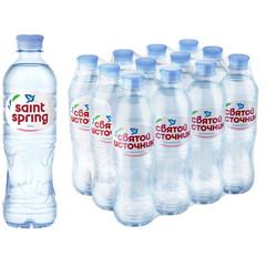 Вода питьевая Святой Источник негазированная 0.5 л (12 штук в упаковке)