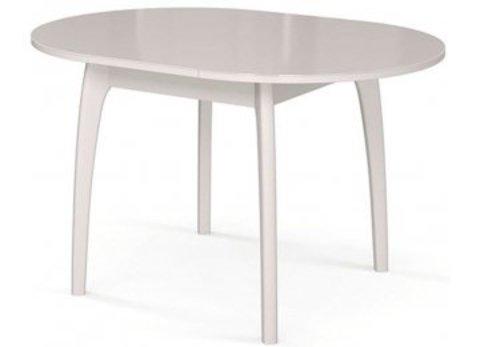 Стол обеденный №46 ДН4 со стеклом раздвижной белый, стекло белое