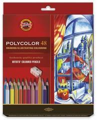 Набор художественных цветных карандашей POLYCOLOR 48 цветов, 2 штуки чернографитных карандаша 1500 и точилка в картонной коробке