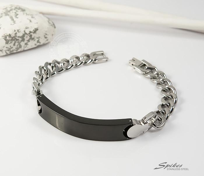 SSBQ-3042 Стильный мужской браслет «Spikes» из стали со вставкой черного цвета (24 см)