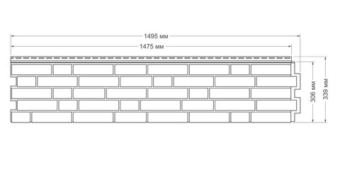 Фасадная панель Гранд Лайн Я-ФАСАД Кирпич Слоновая кость 1495х339 мм