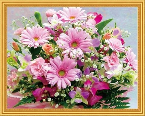 Алмазная Мозаика 50x65 Розовый букет с герберами