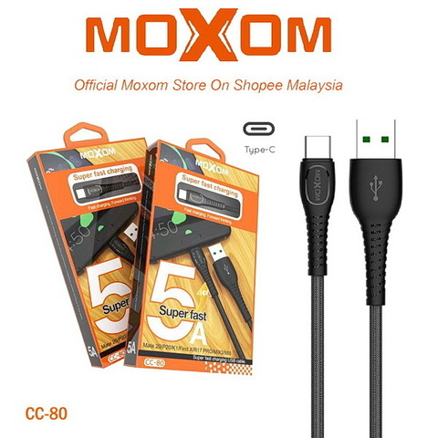 Кабель Type-C Moxom CC-80 (QC3.0, VOOC, DASH, WARP), 5A, 24W, 1m., black