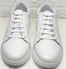 Женские спортивные туфли сникерсы на шнуровке Evromoda 141-1511 White Leather.