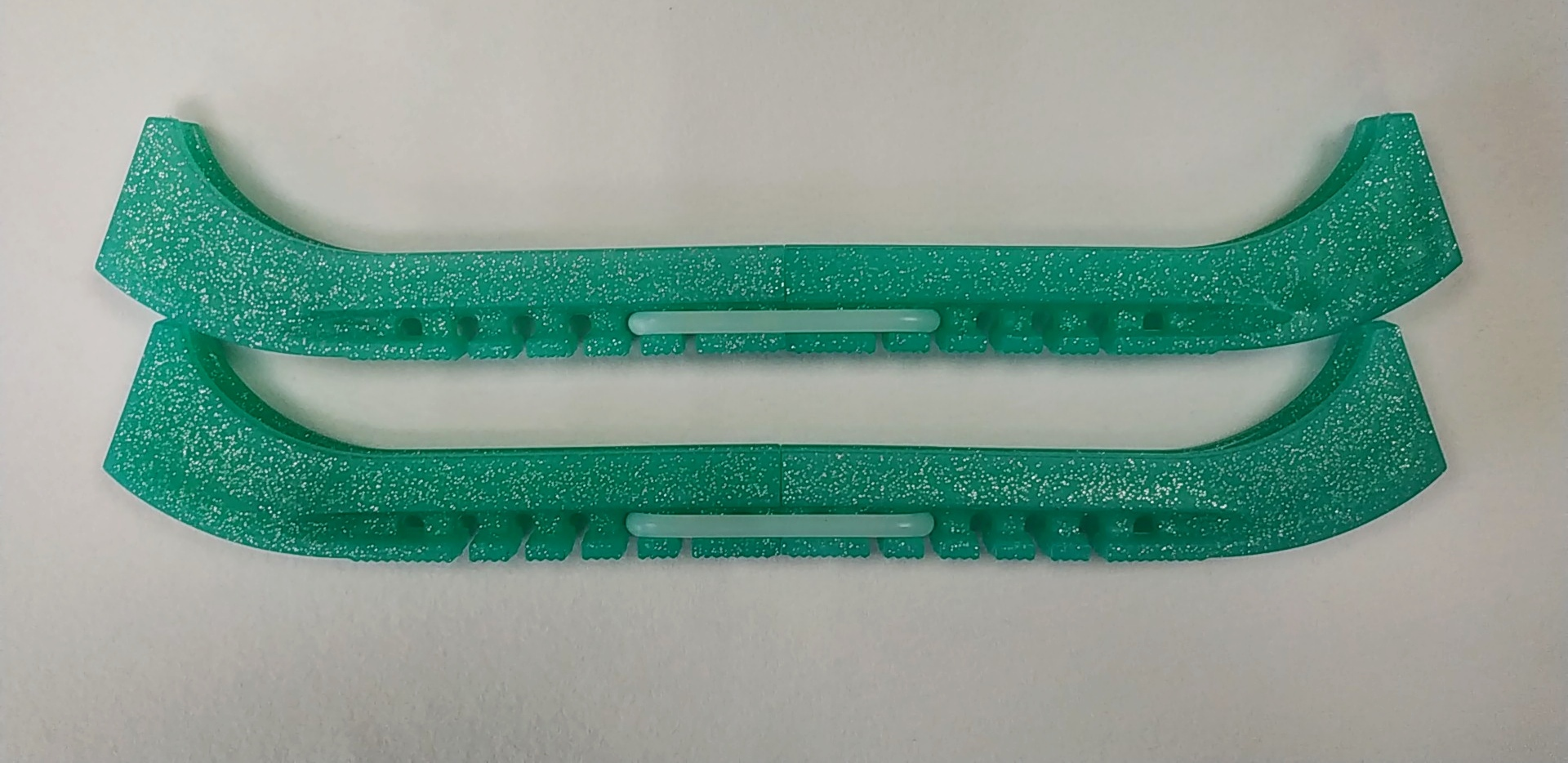 Чехлы на лезвия двойные с силиконовым соединителем (бирюза с блёстками)