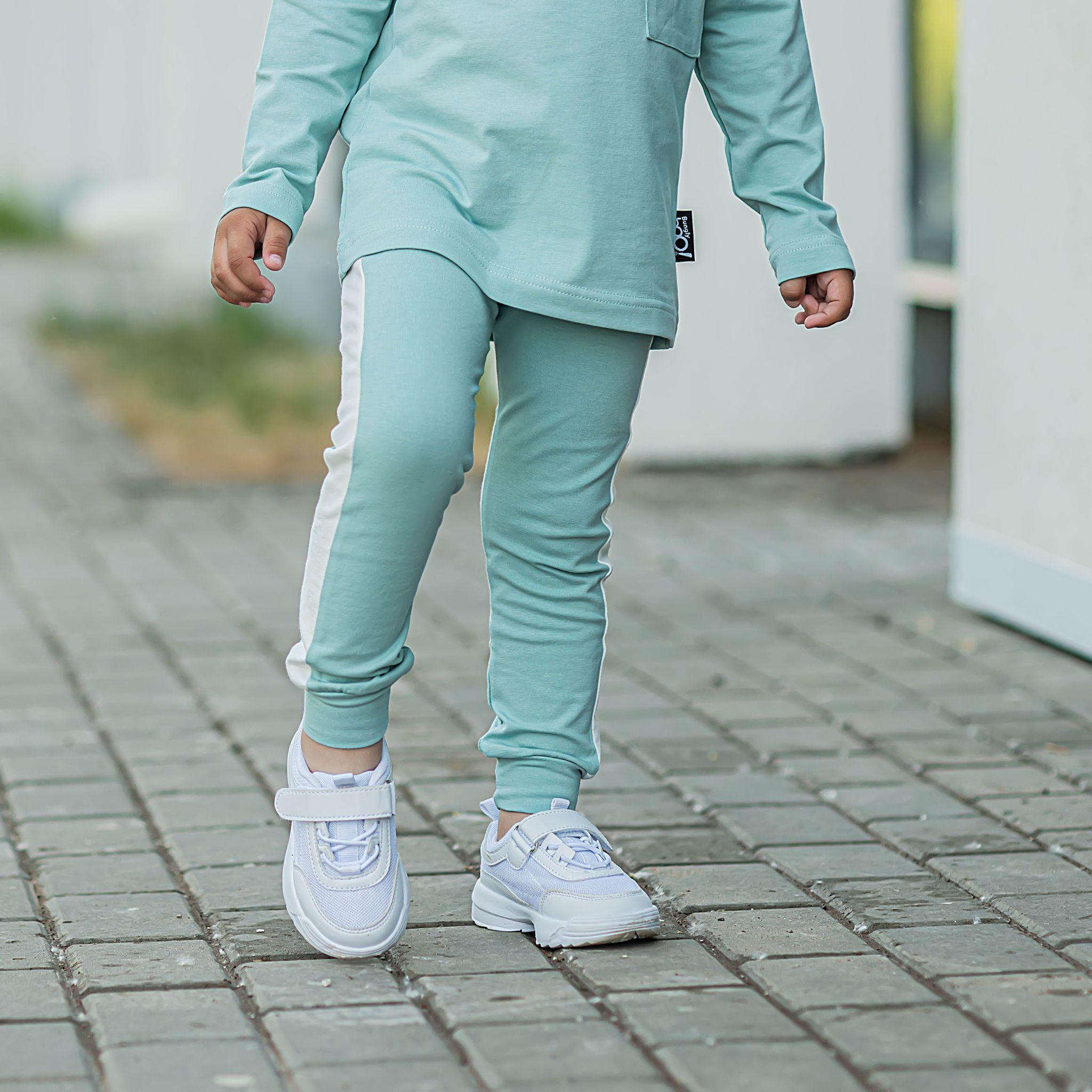 Leggings with stripes - Sea Blue